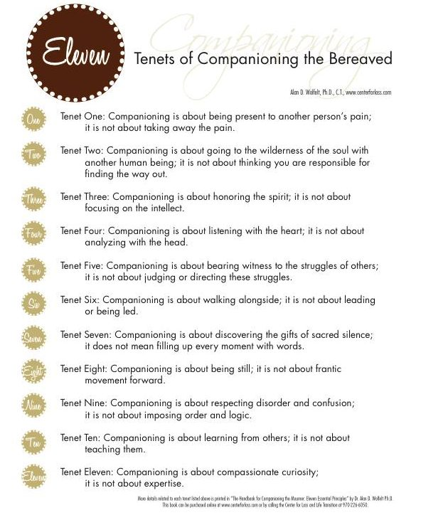 Dr. Wolfelt's Eleven Tenets of Companioning the Bereaved, found on www.grievingparents.net